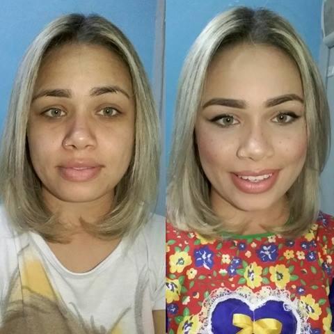 antes e depois make de festa julina