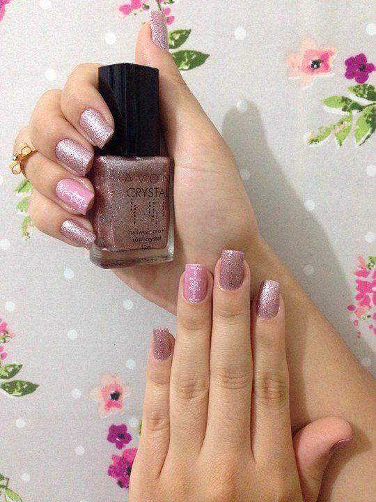 unhas dasemana rosa crystal avon